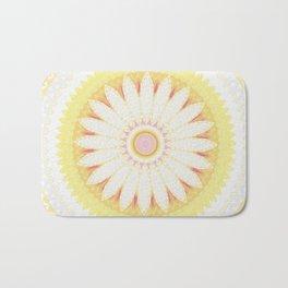 Sunshine Yellow Flower Mandala Abstract Bath Mat