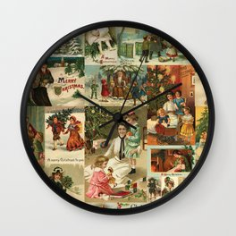 Vintage Victorian Christmas Collage Wall Clock