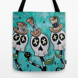 Skully Flowers Tote Bag