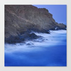 The force of the waves under the moonlight Canvas Print
