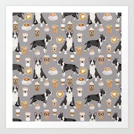 Bull Terrier coffee latte cafe dog breed cute custom pet portrait pattern Art Print