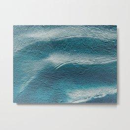 Blue silver waves on metal grunge look Metal Print