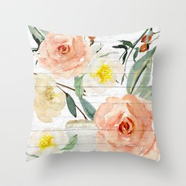 Watercolor Flowers on Rustic Wood Throw Pillow