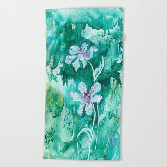 Green encaustic flowers Beach Towel