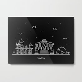 Patna Minimal Nightscape / Skyline Drawing Metal Print