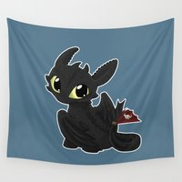 toothless Wall Tapestries featuring Chibi Toothless by EmeraldSora