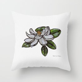 Southern Magnolia Watercolor Illustration Throw Pillow
