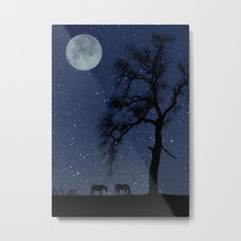 Starry Night, Horse and Moon Metal Print