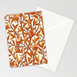 Art Nouveau Bird and Pomegranate, Mandarin Orange and Gold Stationery Cards