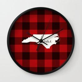 North Carolina is Home - Buffalo Check Plaid Wall Clock