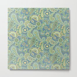 Blue and Gold Paisley Metal Print