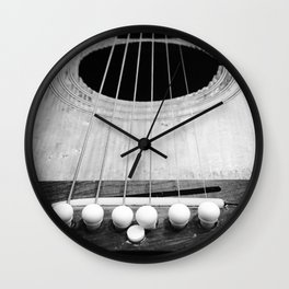 Wooden Acoustic Guitar in Black and White Wall Clock