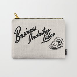 Business Industry Labor with Gears in Black Carry-All Pouch