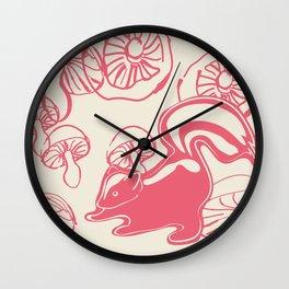 skunk with mushrooms Wall Clock