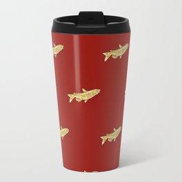 Watercolor Catfish Repeat Red Background Travel Mug