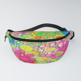 Psychedelic Circles Mixed media painting Fanny Pack