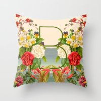 botanical Throw Pillows featuring Botanical by Blue Jean Genie