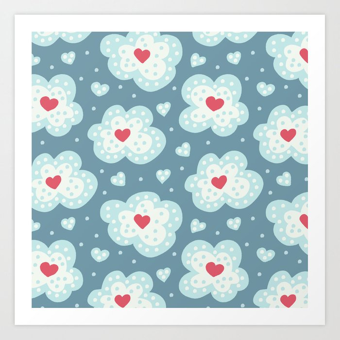 Winter Hearts And Snowy Clouds Art Print