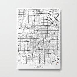 Beijing Map White Metal Print