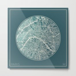 Paris Map Planet Metal Print