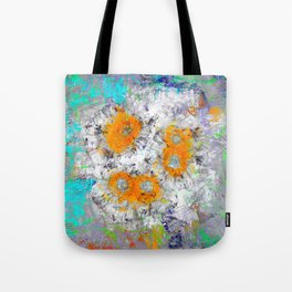Abstract Floral Mixed Media Watercolor Ink Painting , orange & aqua Tote Bag