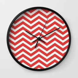 Nautical chevron pattern red Wall Clock