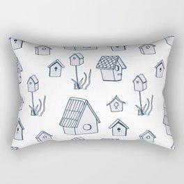 Bird House Drawings, Pattern Rectangular Pillow