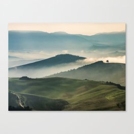 Pretty foggy morning in Toscany Canvas Print