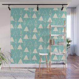 Christmas Tree Blue Wall Mural