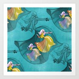 discopatttern turquoise -1- Art Print