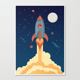 SPACE ROCKET poster, rocket illustration, rocket printable art, space ship print, space shuttle, spa Canvas Print