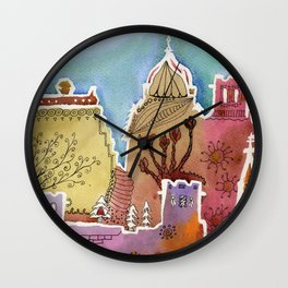 Oxford watercolor #1 Wall Clock