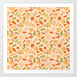 Pumpkin Spice Season Latte and Fall Leaves Pattern Art Print