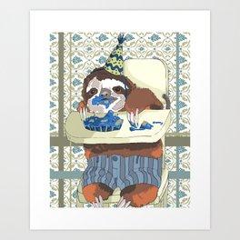 Happy Birthday Sloth Art Print