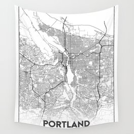 Minimal City Maps - Map Of Portland, Oregon, United States Wall Tapestry