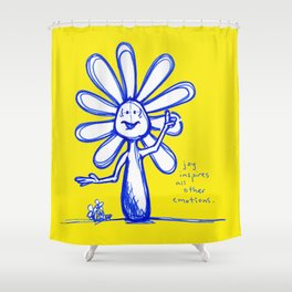 """Joy Inspires All Other Emotions"" Flowerkid Shower Curtain"
