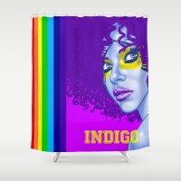 indigo Shower Curtains featuring INDIGO by Marcus Wild