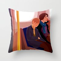 johnlock Throw Pillows featuring Johnlock on the tube after a case by Sama Ma