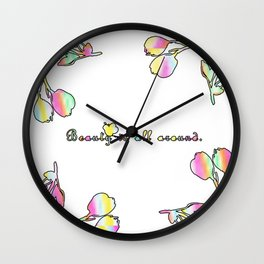 Beauty is All Around Pastel Flowers Wall Clock