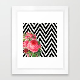 FLORAL BLACK AND WHITE CHEVRON Framed Art Print