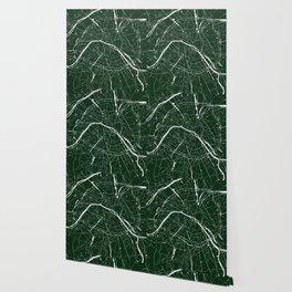 Paris France Minimal Street Map - Forest Green Wallpaper