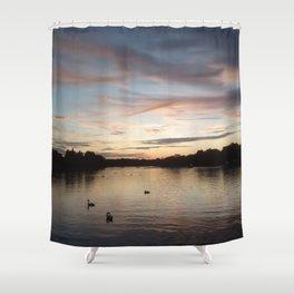 Hyde park sunset. Shower Curtain