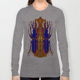 Lapis Blue Beetle on Gold Long Sleeve T-shirt