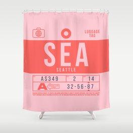 Retro Airline Luggage Tag 2.0 - SEA Seattle Tacoma International Airport Washington Shower Curtain