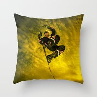 snowboarding Throw Pillows featuring Snowboarding #1  by Bruce Stanfield
