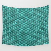scales Wall Tapestries featuring teal scales by Giovanni Fontana