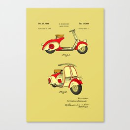 Motor Bicycle Patent Circa 1949 - RED Canvas Print