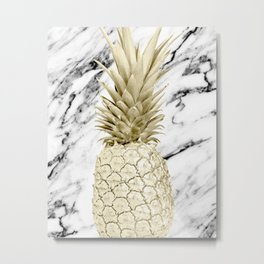 Rose Gold Pineapple Surprise on Simply Marble Metal Print