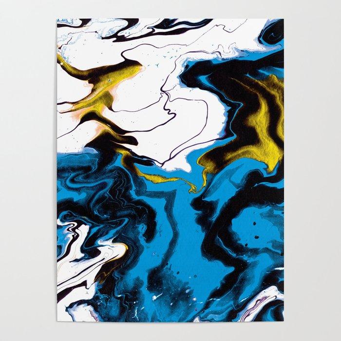 Dreamscape 01 in Blue, White & Gold Poster
