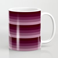 burgundy Mugs featuring burgundy stripes by SimplyChic